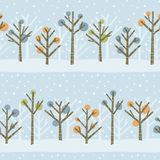 Winter Forest Pattern. Seamless pattern of a cute winter forest. Colors can easily be changed in file royalty free illustration