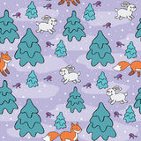 Winter forest pattern. Baby colorful seamless pattern with the image of a cute forest animals. Vector Christmas background Royalty Free Stock Photography