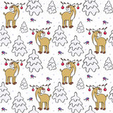Winter forest pattern. Baby colorful seamless pattern with the image of a cute deer and forest animals. Vector Christmas background Stock Images