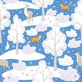 Winter forest pattern. Christmas seamless pattern with the image of the winter forest and wild animals Royalty Free Stock Photo
