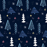 Winter forest pattern with hand drawn christmas tree. Blue night sky with stars and snowflakes. Vector background for Stock Image