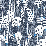 Winter forest pattern. Winter forest made of doodle trees. Seamless pattern for Christmas design Stock Images