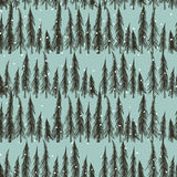 Winter forest  pattern. Vector seamless pattern with hand drawn spruce trees under the snow. Winter forest at night.  Beautiful floral design elements, perfect Royalty Free Stock Photos