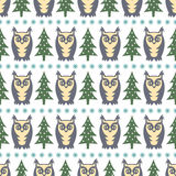 Winter forest pattern - Xmas trees, owls and snowflakes. Simple seamless nature background. Royalty Free Stock Photo