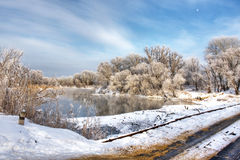 Winter forest river. Winter landscape with snowed bridge Royalty Free Stock Image