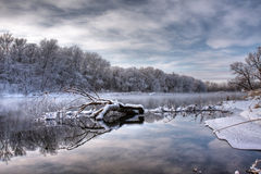 Winter forest river. Fallen tree in winter river Royalty Free Stock Photo