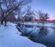 Winter forest on the river. Colorful landscape at sunset Stock Photos