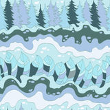 Winter forest and river seamless pattern. Vector background Stock Image