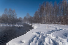 Winter forest river snow water Stock Photos