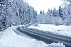Winter Forest Road. Mountain Road Covered by Snow. Winter Theme. Winter Photography Collection Royalty Free Stock Image