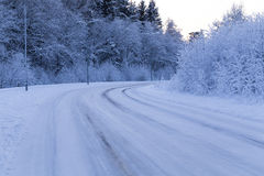 Winter forest with road covered with snow Royalty Free Stock Photo