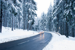 Winter Forest Road. Mountain Road Covered by Snow. Winter Theme. Winter landscape Stock Photography