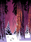Winter Forest Scene. Stylized version of a winter forest landscape. / SN-004 Royalty Free Stock Photo