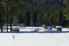 Winter forest scene. Small cottages along a tree line in a sunny winter day. Snowy fairytale in Bulgaria. Stock Photo