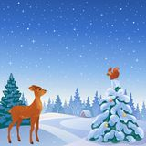 Winter forest scene. Vector illustration of a winter scene with cute animals in a forest Stock Images