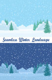 Winter Forest, Seamless Landscapes. Set of Christmas Horizontal Seamless Background Landscapes, Day and Night Winter Forest with White Snow, Fir Trees and Blue Stock Image