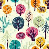 Winter forest seamless pattern Stock Images