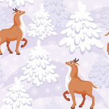 Winter forest seamless pattern. Christmas seamless pattern with the image of a fairy-tale winter forest and fawns vector illustration