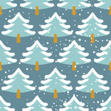 Winter forest seamless pattern. Christmas tree in snow. Texture Royalty Free Stock Photo