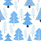 Winter forest seamless pattern. Christmas tree in a winter forest. Seamless pattern vector illustration Stock Images