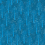 Winter forest seamless pattern. Christmas trees and snow backgro. Und. New Years ornament Stock Photography