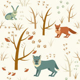 Winter forest seamless pattern stock photo