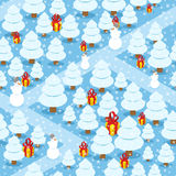 Winter forest seamless pattern. Gifts and Christmas tree.  Stock Photo