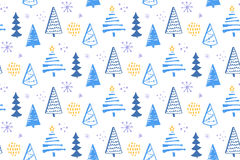 Winter forest seamless pattern with hand drawn christmas trees. Vector background for wrapping paper and christmas Royalty Free Stock Photography