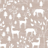 Winter forest seamless pattern. Hand drawn design for Christmas and New Year greeting cards, fabric, wrapping paper, invitation, stationery. Grunge seamless Stock Image