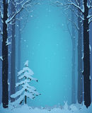 Winter forest. Silhouette of a winter forest with fir and rabbits,  illustration Royalty Free Stock Photography