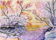 Winter forest in snow in the background of sunlight over the river graphics. Markers stock illustration