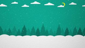 Winter forest. With snow, clouds and moon. Animated background with stock footage