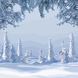 Winter forest with snow-covered fur-trees during the day Royalty Free Stock Photo