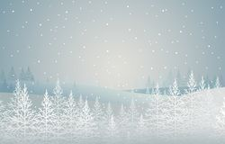 Winter forest. snow-covered spruces on hill. landscape. christmas theme. Vector Stock Images