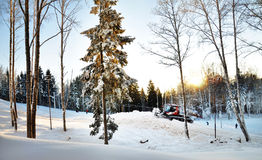 Winter forest with snow thrower Royalty Free Stock Photo
