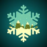 Winter forest in snowflake shape border Stock Image