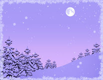 Winter_forest_with_snowflakes_and_frame Royalty Free Stock Photos