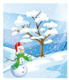 Christmas greetings, festive background for the images. In the winter forest among the snowy spruces cheerful Snowman Stock Image
