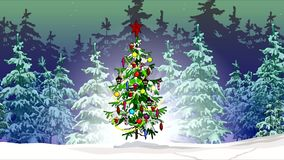 In the winter forest spruce turns into a decorated Christmas. In the night winter forest spruce turns into decorated Christmas stock footage