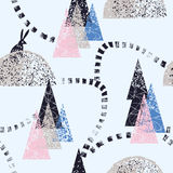 Winter forest trail pattern. Winter forest trendy pattern seamless background Royalty Free Stock Photos