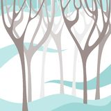Winter forest. Tree branches silhouettes. Stock Photo