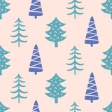 Winter forest tree doodles seamless pattern. Scandinavian Christmas style. Congratulation card, wrapping paper background, festive banner, poster design Stock Photos