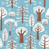 Winter forest. Trees in the snow, trees, bushes, snowflakes. Seamless pattern. Winter forest. Trees in the snow, trees, bushes, snowflakes. Vector graphics Royalty Free Stock Photo