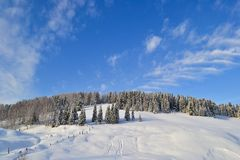 Winter forest in the Ural Mountains, Russia, Chelyabinsk region, Minyar. Pushkin`s fairy tale stock photography