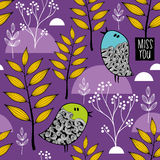 Winter in the forest vector pattern. Stock Image