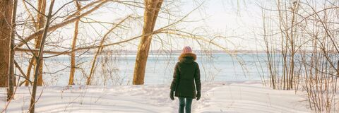 Free Winter Forest Walk Active Woman Walking In Snow Trail Outdoor Nature Panoramic Banner. Healthy Lifestyle Outdoors Royalty Free Stock Photos - 208072438