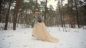 Winter Forest Walking of Wedding Couple stock video footage