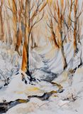Winter forest watercolors painted. stock photography