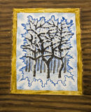 Winter forest in window, painting stock photo