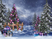 Free Winter Forest With Christmas Ornaments Royalty Free Stock Photo - 27721725